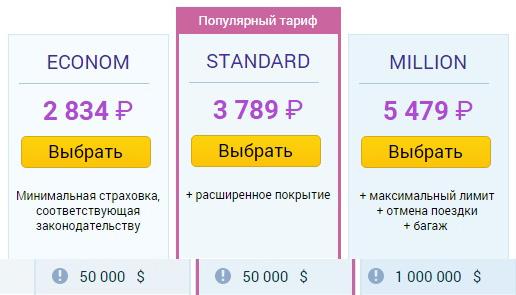 цены на полис Tripinsurance